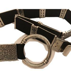 Vtg Stamped Silver Rectangles O RIng Stretch Belt